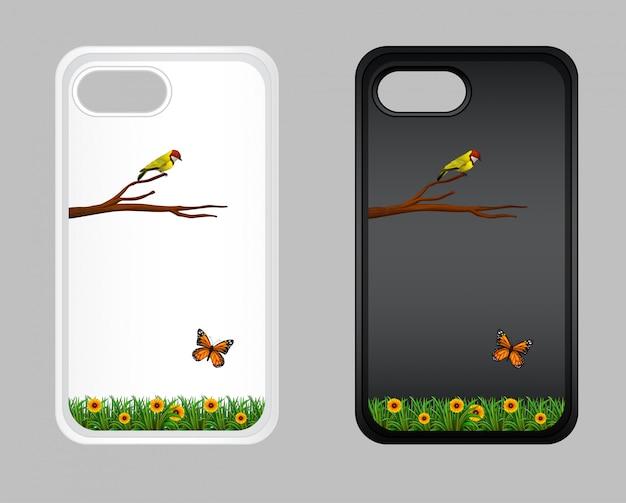 Design gráfico na caixa do telefone móvel com pássaro e borboleta