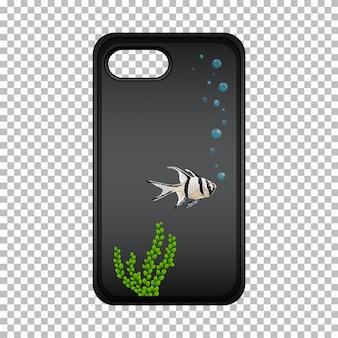 Design gráfico na caixa do telefone móvel com peixe bonito