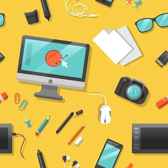 Design gráfico padrão sem emenda com computador e ferramentas digitais.