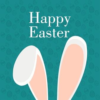 Design gráfico páscoa feliz com orelhas de coelho