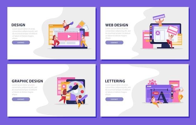 Design gráfico plano colorido com manchetes de web design
