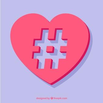 Design hashtag romântico