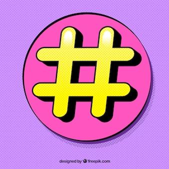 Design hashtag roxo e amarelo