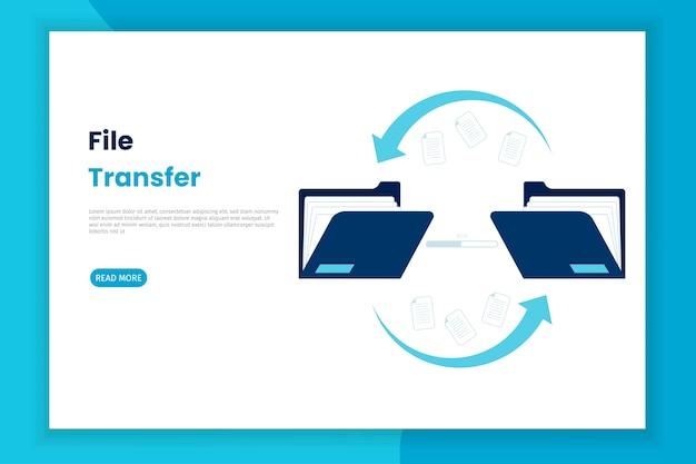 Design ilustração da transferência de arquivos da pasta para outra pasta