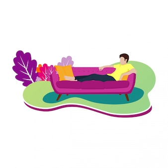 Design ilustração de um homem relaxando em um sofá