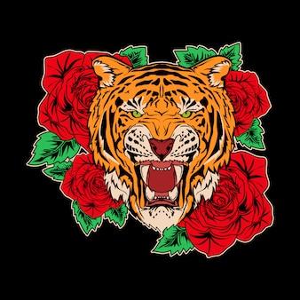Design ilustração tigre e rosa premium