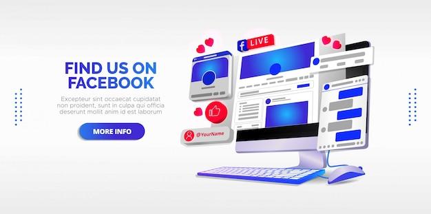 Design ilustrado do facebook ao vivo em sua conta