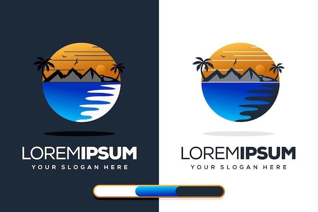 Design incrível do logotipo da praia do pôr do sol