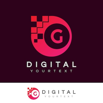 Design inicial digital da letra g logo