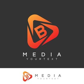 Design inicial do logotipo da letra b da mídia