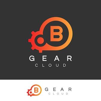 Design inicial do logotipo da letra b da tecnologia da nuvem