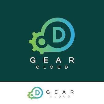 Design inicial do logotipo da letra d da tecnologia da nuvem