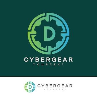 Design inicial do logotipo da letra d da tecnologia