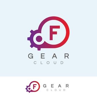 Design inicial do logotipo da letra f da tecnologia da nuvem