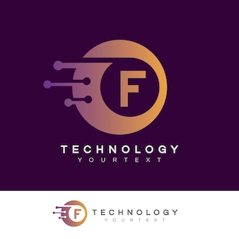 Design inicial do logotipo da letra f da tecnologia
