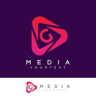Design inicial do logotipo da letra g da mídia
