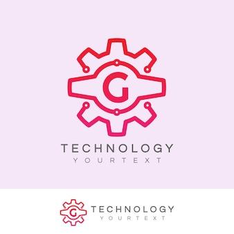 Design inicial do logotipo da letra g da tecnologia