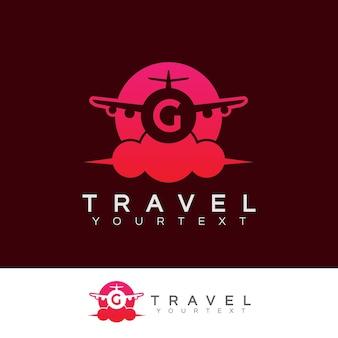 Design inicial do logotipo da letra g da viagem