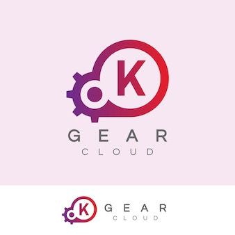 Design inicial do logotipo da letra k da tecnologia da nuvem