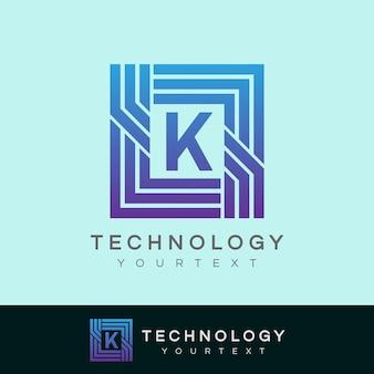 Design inicial do logotipo da letra k da tecnologia