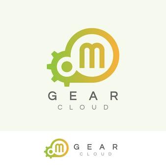 Design inicial do logotipo da letra m da tecnologia da nuvem