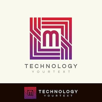 Design inicial do logotipo da letra m da tecnologia
