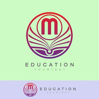 Design inicial do logotipo da letra m de educação