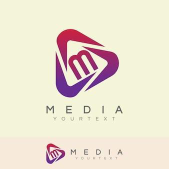 Design inicial do logotipo da letra m de mídia