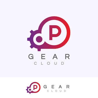 Design inicial do logotipo da letra p da tecnologia da nuvem