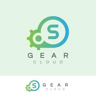 Design inicial do logotipo da letra s da tecnologia da nuvem