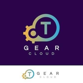 Design inicial do logotipo da letra t da tecnologia da nuvem