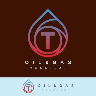 Design inicial do logotipo da letra t e óleo e gás
