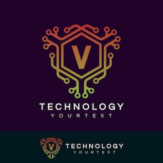 Design inicial do logotipo da letra v da tecnologia