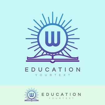 Design inicial do logotipo da letra w da educação
