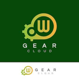 Design inicial do logotipo da letra w da tecnologia da nuvem