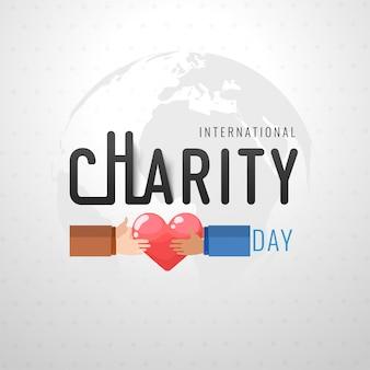 Design internacional do dia da caridade com ilustração de mãos segurando um coração