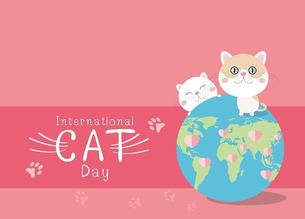 Design internacional do dia do gato no fundo rosa