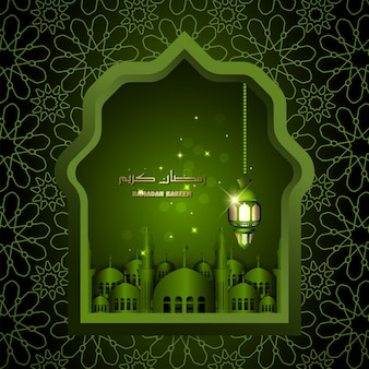 Design islâmico ramadan kareem lanterna árabe e mesquita islâmica ilustração