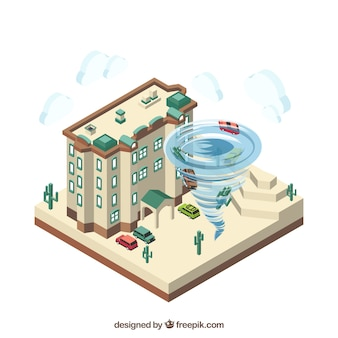 Design isométrico com furacão