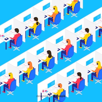 Design isométrico criativo de call center