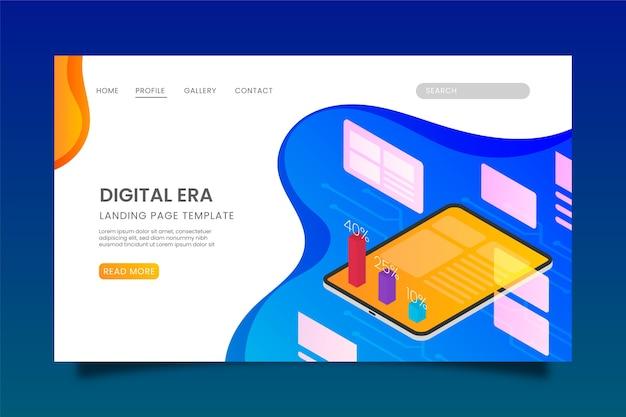 Design isométrico da página de destino da tecnologia
