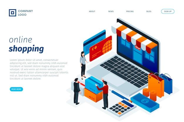 Design isométrico da página de destino on-line de compras