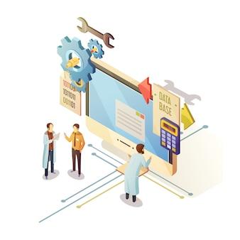 Design isométrico de banco de dados com pessoal e equipamentos de informática