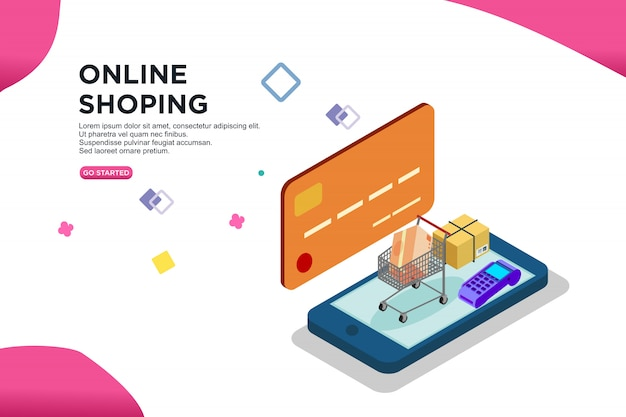 Design isométrico de compras on-line de smartphone