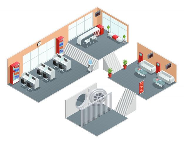 Design isométrico de cor da sala do banco