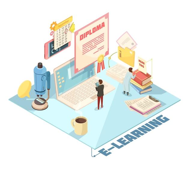 Design isométrico de educação on-line