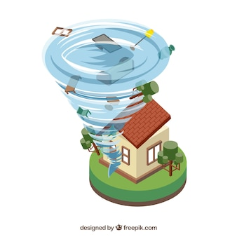 Design isométrico de furacões