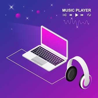 Design isométrico de laptop e fone de ouvido