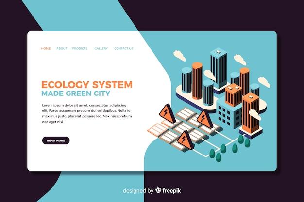 Design isométrico de página de destino de ecologia