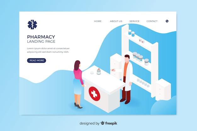 Design isométrico de página de destino de farmácia